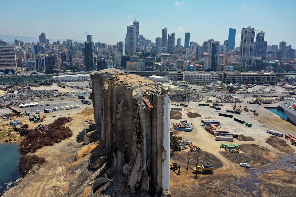 A general view of the site of the Beirut blast, a year on from the tragedy (Reuters)