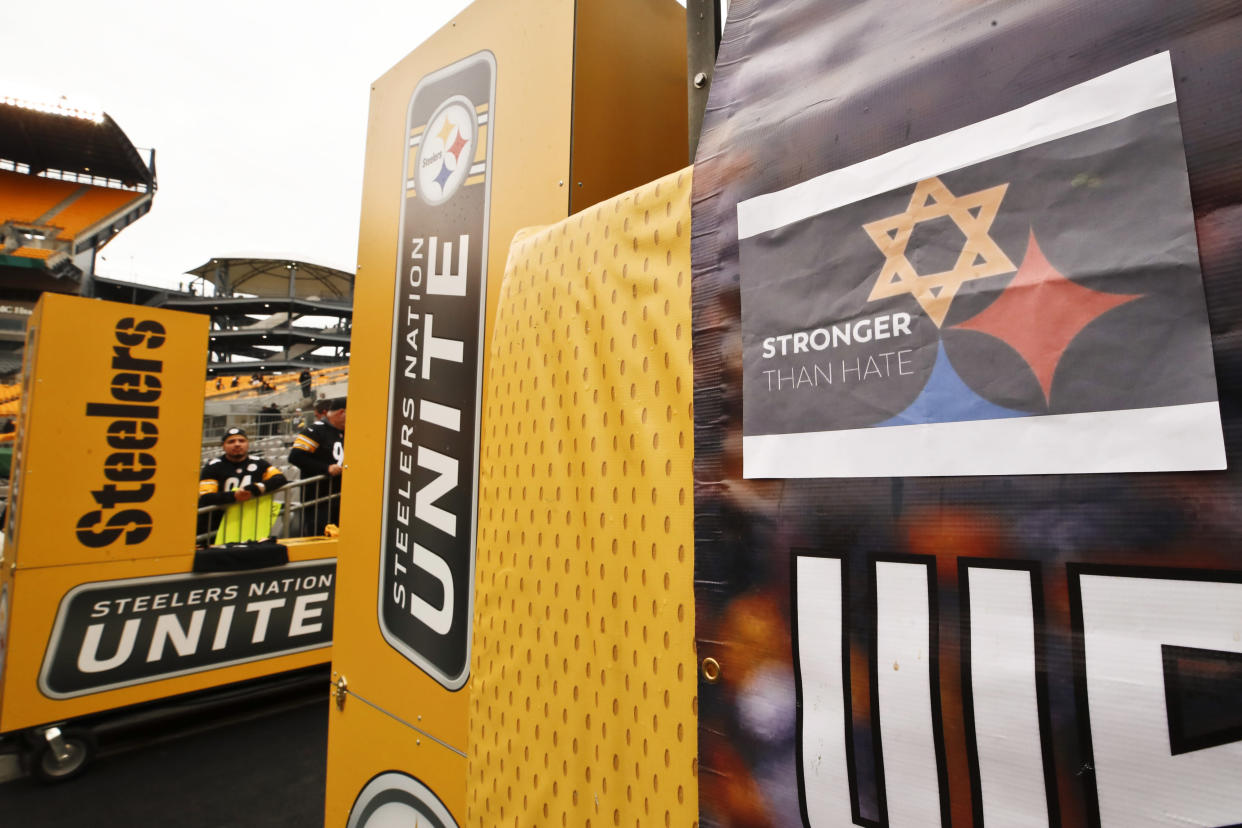 A Pittsburgh Steelers logo with one of the hypocycloids changed to a Star of David is on a banner at Heinz Field for an NFL football game between the Pittsburgh Steelers and the Cleveland Browns, on Sunday. (AP)