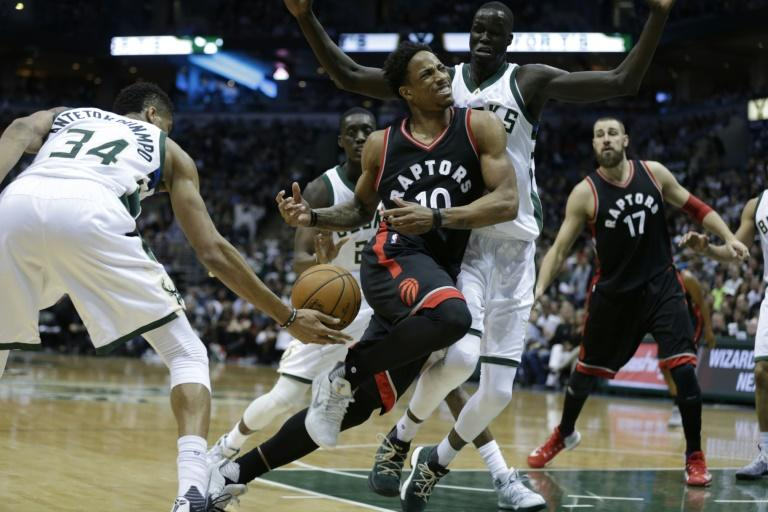 DeMar DeRozan of the Toronto Raptors gets stripped of the ball by Giannis Antetokounmpo of the Milwaukee Bucks in Game Four of the Eastern Conference quarter-finals during the 2017 NBA Playoffs, in Milwaukee, Wisconsin, on April 22