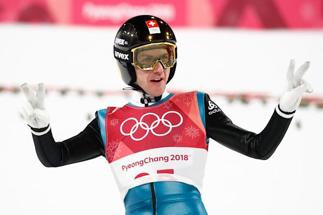 <p>Switzerland's Simon Ammann reacts after competing in the men's normal hill individual ski jumping event on February 10, 2018, in Pyeongchang. </p>