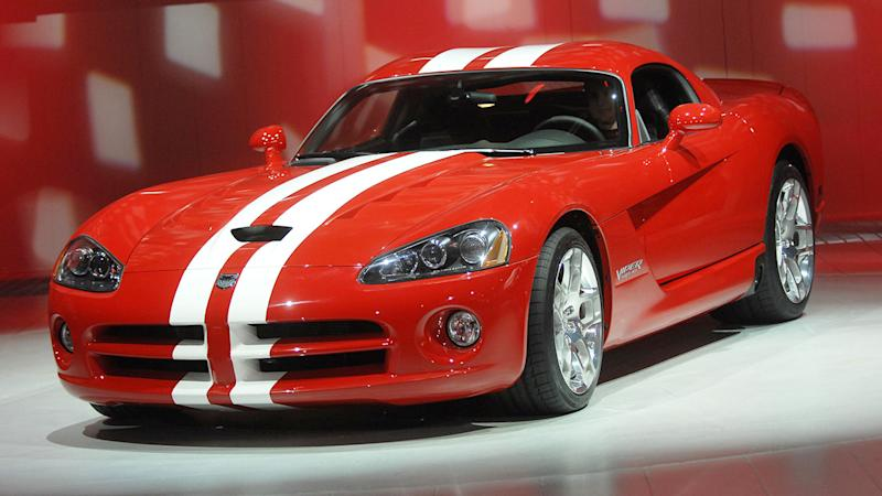 Pictured here, a Dodge Viper on display in a show room.