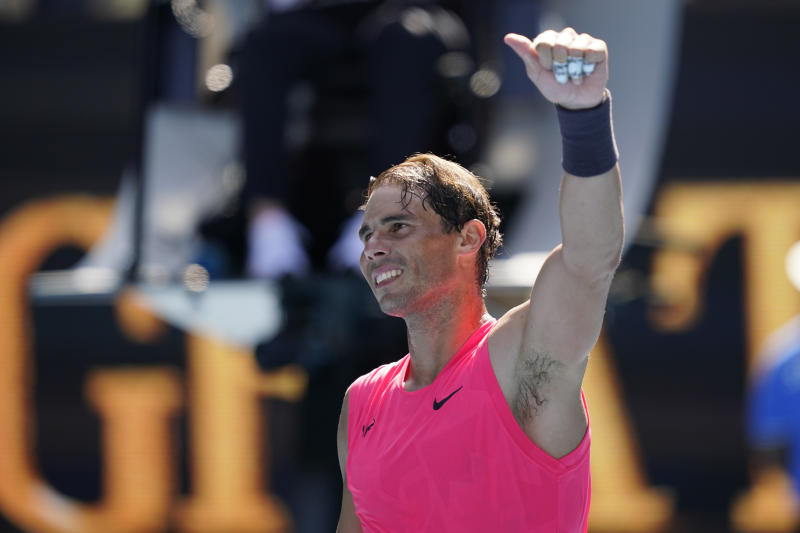 Rafael Nadal of Spain waves to the crowd after winning his Men's Singles first round match against Hugo Dellien of Bolivia on day two of the 2020 Australian Open at Melbourne Park on January 21, 2020 in Melbourne, Australia.