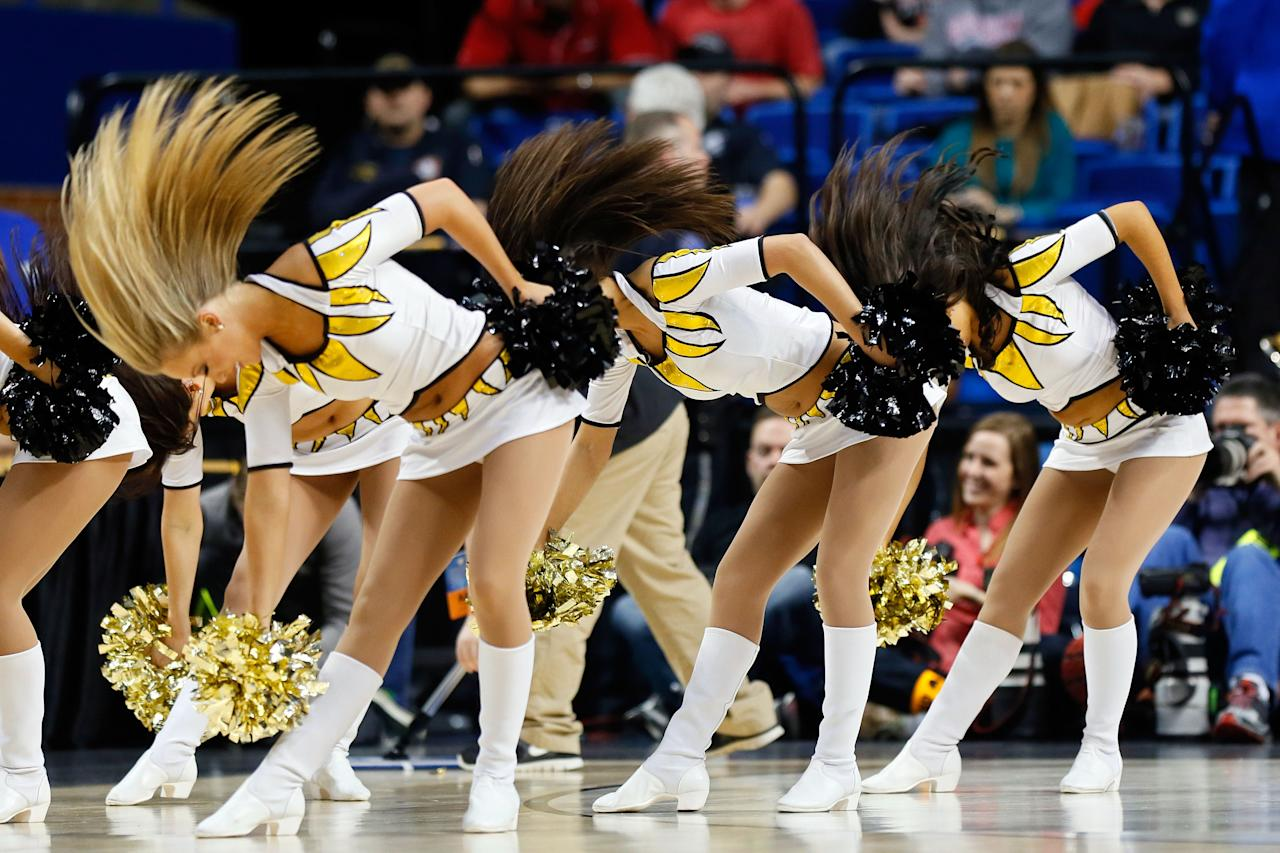 Cheerleaders for the Missouri Tigers perform during the second round of the 2013 NCAA Men's Basketball Tournament at the Rupp Arena on March 21, 2013 in Lexington, Kentucky.