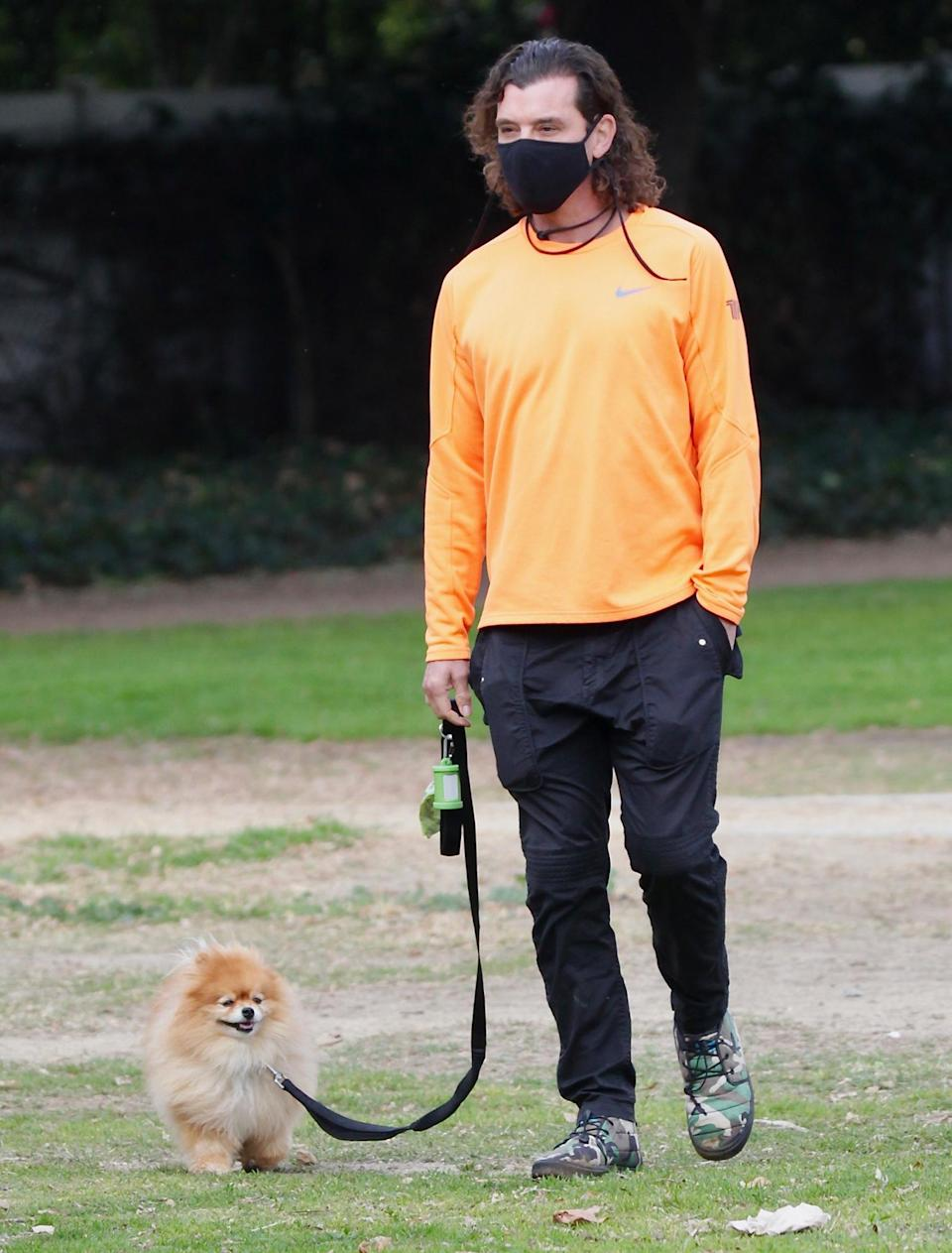 <p>Gavin Rossdale heads to the park with his dog Chewy on Sunday in L.A.</p>