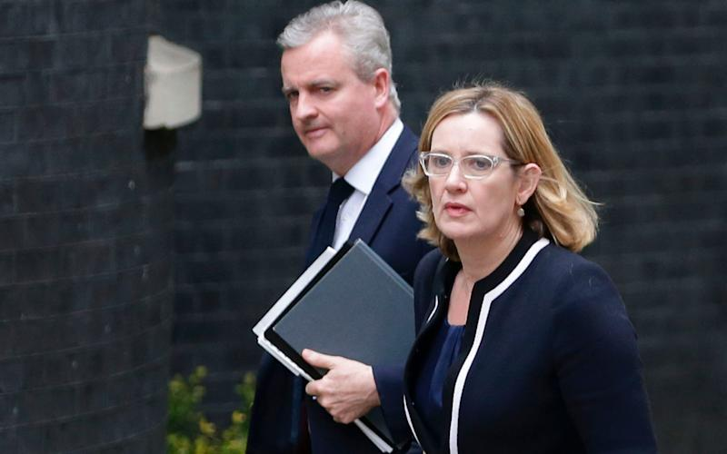 Home Secretary Amber Rudd arrives at Downing Street - Credit: DANIEL LEAL-OLIVAS/AFP