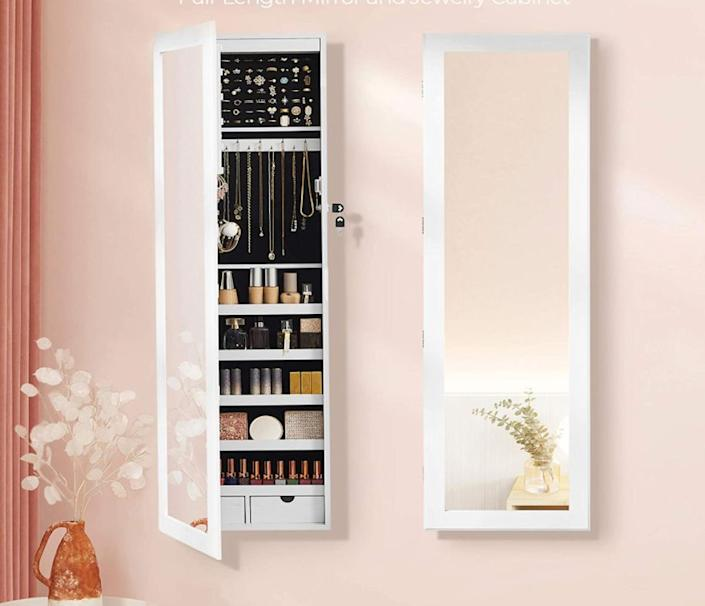 """Discreetly disguised as a mirror, you can hang this cabinet on a wall or over a door. It'll make putting your jewelry away less of a chore, as well as free up space on your dresser where a big ball of tangled necklaces once lived.<br /><br /><strong>Promising review:</strong>""""<strong>I love, love, LOVE this jewelry cabinet!</strong>It is perfect in EVERY way! There is a ton of space for all sorts of various styles of jewelry, and the LED lights in the top are super helpful to light up the inside... this is a MUST-BUY in my opinion!"""" —<a href=""""https://www.amazon.com/dp/B01EYEBS4O?tag=huffpost-bfsyndication-20&ascsubtag=5834502%2C1%2C46%2Cd%2C0%2C0%2C0%2C962%3A1%3B901%3A2%3B900%3A2%3B974%3A3%3B975%3A2%3B982%3A2%2C16277301%2C0"""" target=""""_blank"""" rel=""""noopener noreferrer"""">Erika<br /></a><br /><strong>Get it from Amazon for<a href=""""https://www.amazon.com/dp/B01EYEBS4O?tag=huffpost-bfsyndication-20&ascsubtag=5834502%2C1%2C46%2Cd%2C0%2C0%2C0%2C962%3A1%3B901%3A2%3B900%3A2%3B974%3A3%3B975%3A2%3B982%3A2%2C16277301%2C0"""" target=""""_blank"""" rel=""""noopener noreferrer"""">$109.99+</a>(available in six colors).</strong>"""