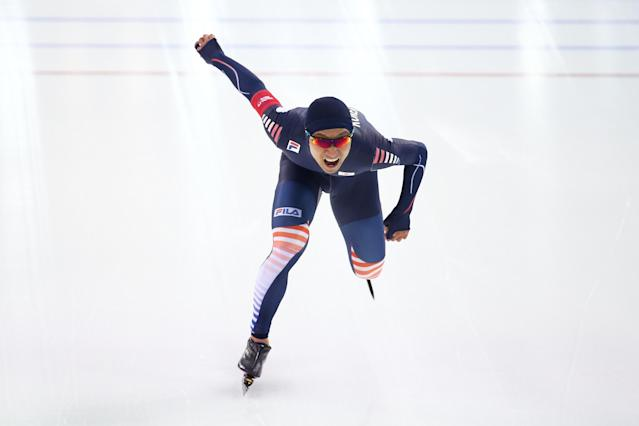 SOCHI, RUSSIA - FEBRUARY 12: Kyou-Hyuk Lee of Korea competes during the Men's 1000m Speed Skating event during day 5 of the Sochi 2014 Winter Olympics at at Adler Arena Skating Center on February 12, 2014 in Sochi, Russia. (Photo by Streeter Lecka/Getty Images)
