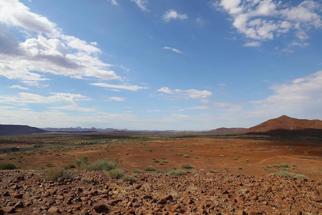<p>The spectacular view from the top of a vista in the Palmwag concession. The terrain reminded me of the southwest United States. (Photo: Gordon Donovan/Yahoo News) </p>