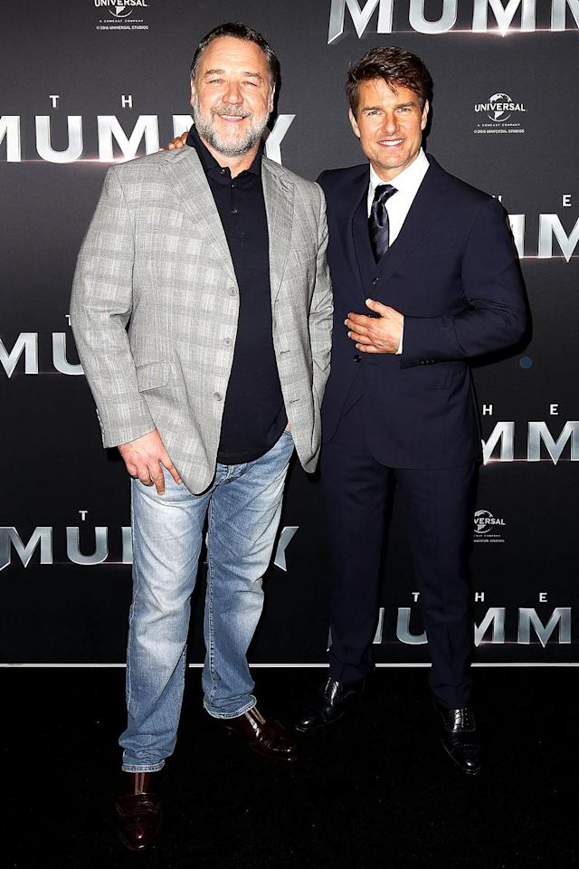 "<p><em>The Mummy</em> co-stars Russell Crowe and Tom Cruise happily posed together at the flick's premiere in Sydney, and it turns out they've been pals for a long time. ""We were at a barbecue at Naomi Watts' house and Nicole Kidman, who was Tom's wife at the time, introduced me,"" Crowe told the <a href=""http://www.smh.com.au/lifestyle/celebrity/tom-cruise-brings-his-mummy-to-australia-for-premiere-20170522-gwaovh.html"" rel=""nofollow noopener"" target=""_blank"" data-ylk=""slk:Sydney Morning Herald"" class=""link rapid-noclick-resp""><em>Sydney Morning Herald</em></a> of the first time he and Cruise met back in 1992. ""She brought him over to where I was sitting. The most amazing thing was that I was talking to, at the time, the biggest movie star in the world, and he had been introduced to my films by his wife, so he was asking me questions, not the other way around. It was a pretty amazing experience and we have been friends ever since."" (Photo: Brendon Thorne/Getty Images) </p>"
