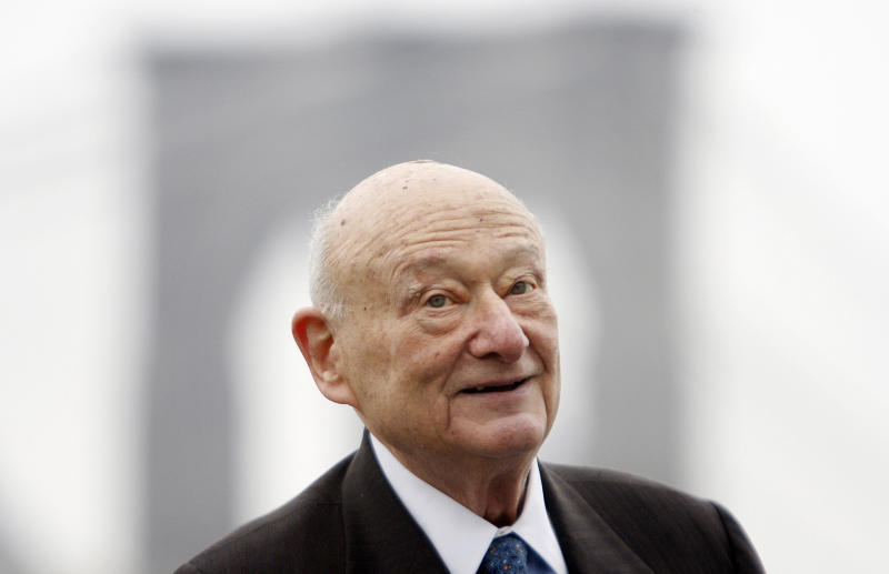 FILE - In this March 23, 2010 file photo, former New York Mayor Ed Koch speaks during a publicity event in New York. Koch is keeping tabs on the Democratic National Convention while undergoing a battery of hospital tests. A spokesman for the ex-Democratic mayor says Koch might not get out of the hospital Wednesday, as he'd originally hoped. Koch felt weak over the weekend while staying with friends in North Carolina. He was admitted to New York-Presbyterian Hospital on Tuesday, Sept. 4, 2012,  with anemia. (AP Photo/Seth Wenig, File)