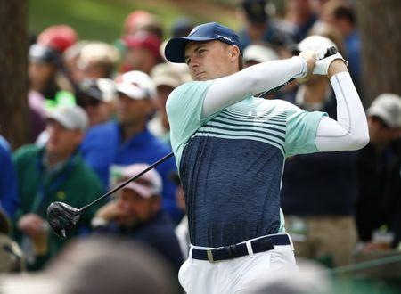 Apr 6, 2017; Augusta, GA, USA; Jordan Spieth hits his tee shot on the 17th hole during the first round of The Masters golf tournament at Augusta National Golf Club. Mandatory Credit: Rob Schumacher-USA TODAY Sports