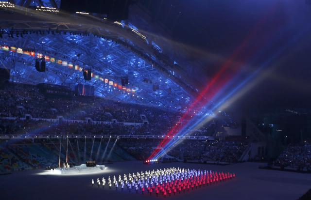 A general view shows the opening ceremony of the 2014 Sochi Winter Olympics, February 7, 2014. REUTERS/Mark Blinch (RUSSIA - Tags: OLYMPICS SPORT)