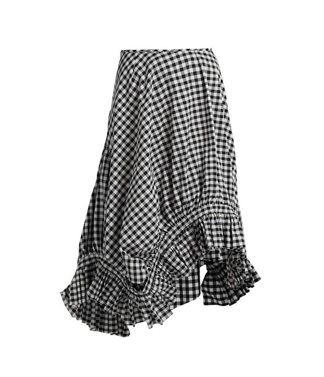 <p>Ruffle trim gingham midi skirt, $354, matchesfashion.com </p>