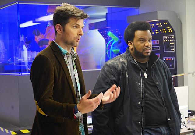 Adam Scott as Max Jennifer and Craig Robinson as Leroy Wright in 'Ghosted' (Photo: Kevin Estrada/Fox)