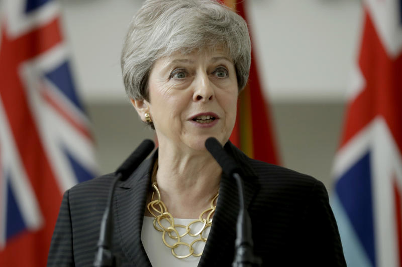 Prime Minister Theresa May makes a speech during a visit to the Permanent Joint Headquarters (PJHQ) and Nato's maritime headquarters in Northwood, north-west London.