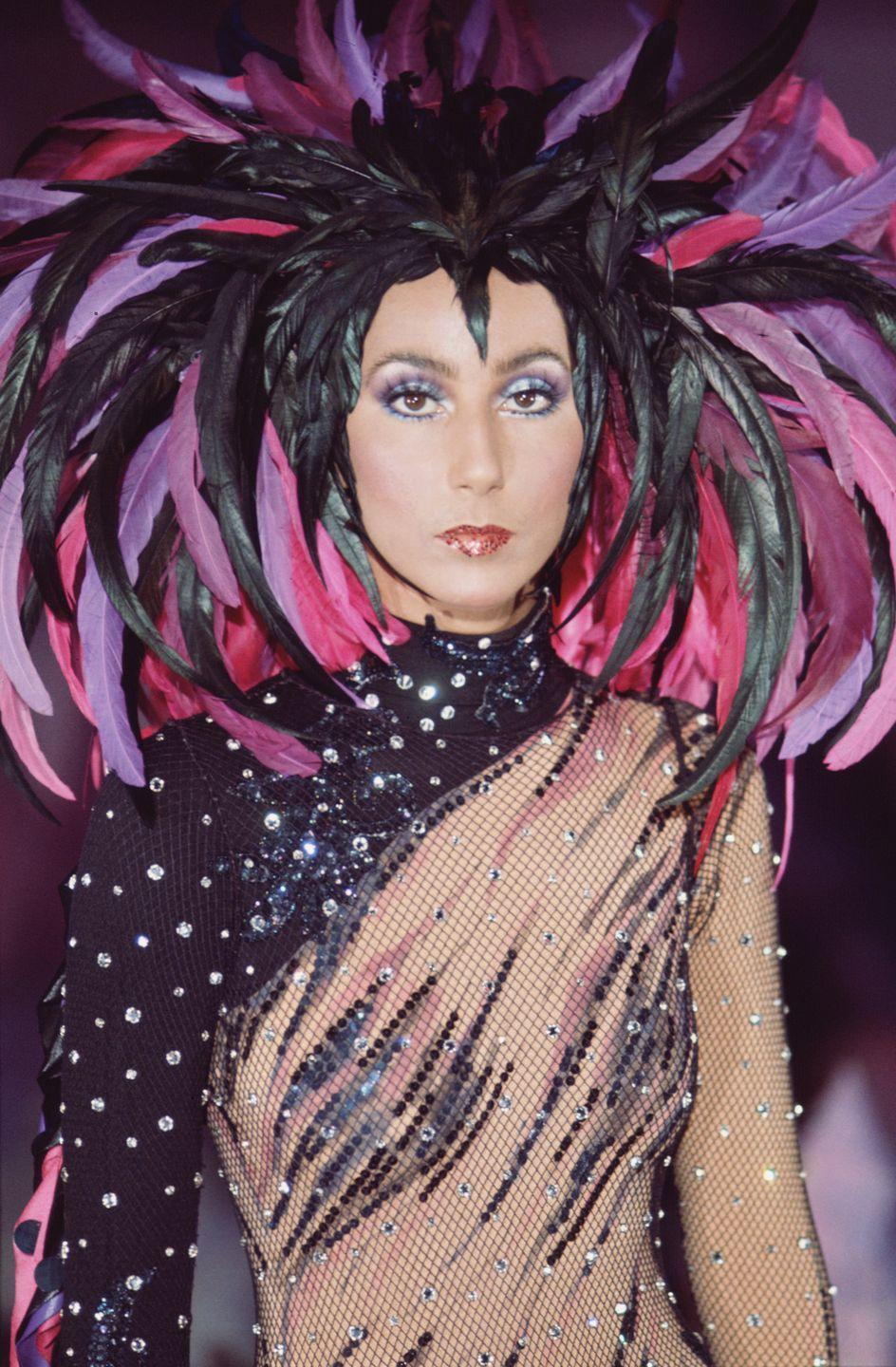 <p>In a feathered headdress and a crystalized bodysuit on <em>The Sonny and Cher Comedy Hour</em>.</p>