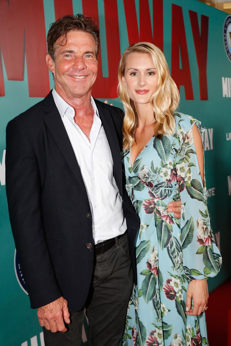 "Dennis Quaid and fiancee Laura Savoie arrive at the ""Midway"" Special Screening at Joint Base Pearl Harbor-Hickam on October 20, 2019 in Honolulu, Hawaii. (Photo by Marco Garcia/Getty Images for Lionsgate Entertainment)"