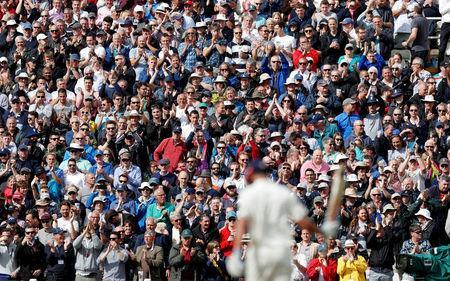 Cricket - England vs West Indies - First Test - Birmingham, Britain - August 18, 2017 Fans applaud England's Alastair Cook as he celebrates his double century Action Images via Reuters/Paul Childs