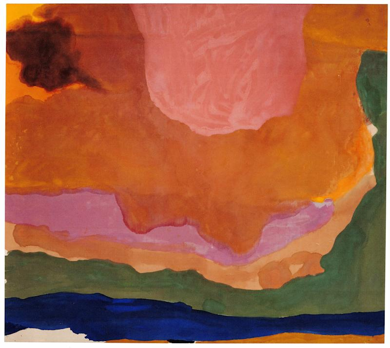 Helen Frankenthaler (American, 1928 – 2011), Flood, 1967. Acrylic on canvas, 124 ¼ x 140 ½ inches. Whitney Museum of American Art, New York. Purchase with funds from the Friends of the Whitney Museum of American Art 68.1 2. © 2019 Helen Frankenthaler Foundation, Inc. / Artists Rights Society (ARS), New York.