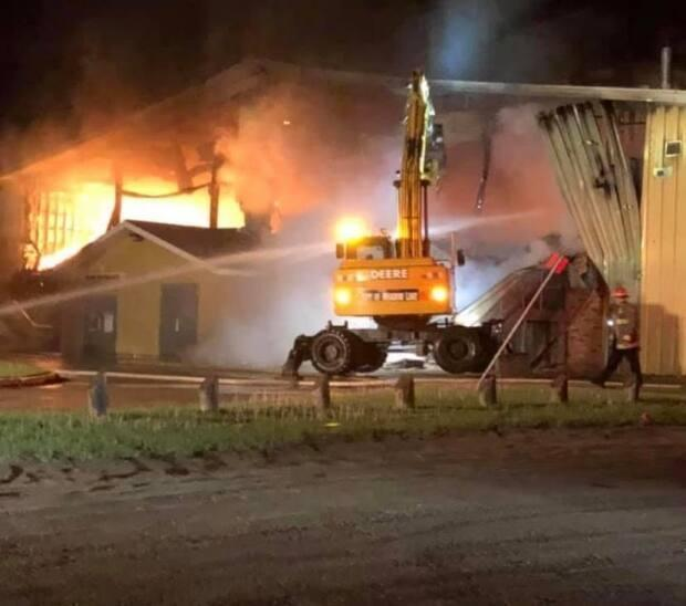 The blaze that caused significant damage to the Meadow Lake and District Arena saw much of the community's volunteer firefighting force respond, keeping crews busy throughout the night.  (Supplied/Colin McCallum - image credit)