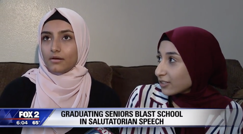 Senior students Zainab Atalagni and Tuhfa Kasem slammed their Detroit, Michigan high schools during their graduation ceremonies. (Screenshot: Fox 2 Detroit)