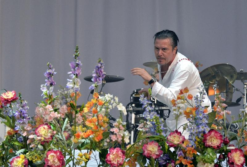 Faith No More singer Mike Patton performs at the Hellfest heavy metal and hard rock music festival Hellfest in Clisson, near Nantes, western France, on June 20, 2015 (AFP Photo/Georges Gobet)