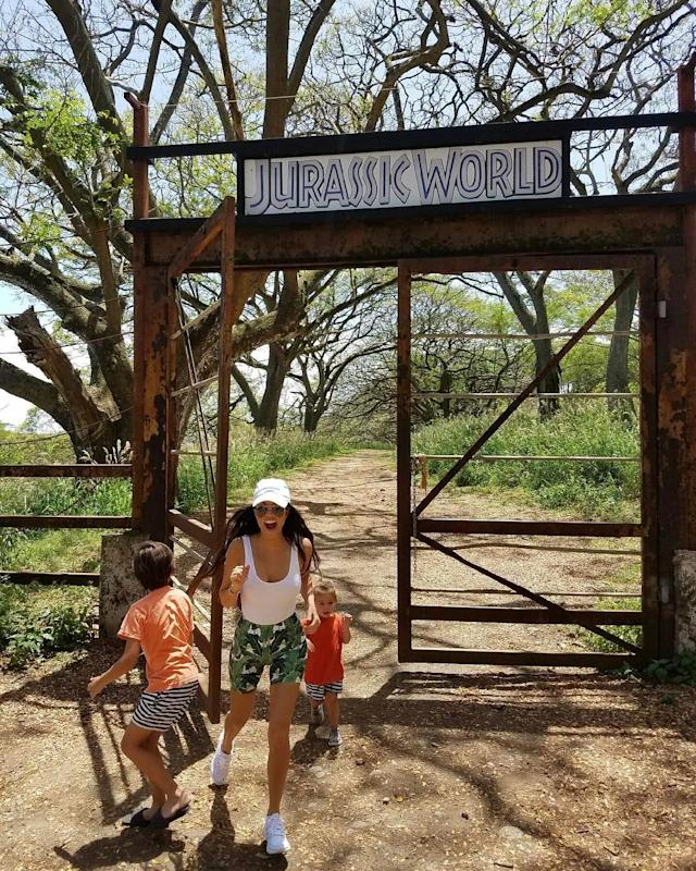 "<p>When Kourtney's family visited Hawaii, she goofed around with her kids at the ranch where the blockbuster ""<em>Jurassic World"" </em>was filmed. (Photo: <a href=""https://www.instagram.com/p/BScw-znDz8b/?taken-by=kourtneykardash"" rel=""nofollow noopener"" target=""_blank"" data-ylk=""slk:Kourtney Kardashian via Instagram"" class=""link rapid-noclick-resp"">Kourtney Kardashian via Instagram</a>)<br><br></p>"