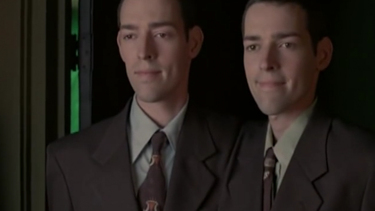 Mark and Michael Polish as Siamese twins.