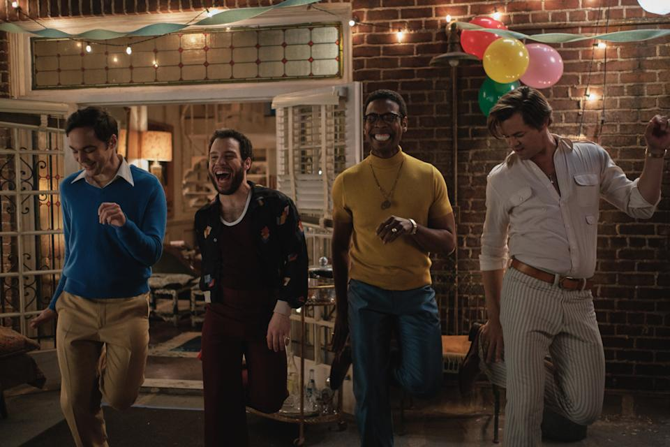 Jim Parsons, Robin de Jesus, Michael Benjamin Washington and Andrew Rannells in 'The Boys in the Band' (Photo: Scott Everett White/Netflix)