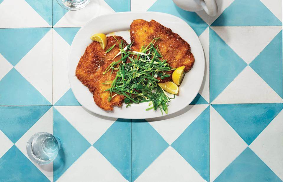 """<a href=""""https://www.bonappetit.com/recipe/chicken-saltimbocca-with-crunchy-pea-salad?mbid=synd_yahoo_rss"""" rel=""""nofollow noopener"""" target=""""_blank"""" data-ylk=""""slk:See recipe."""" class=""""link rapid-noclick-resp"""">See recipe.</a>"""