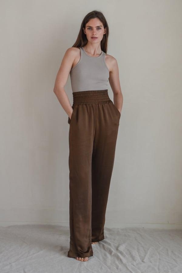 <p>The forgiving waistband on these <span>Sundarbay Satin High Waist Trousers</span> ($123) just makes them that much comfier.</p>