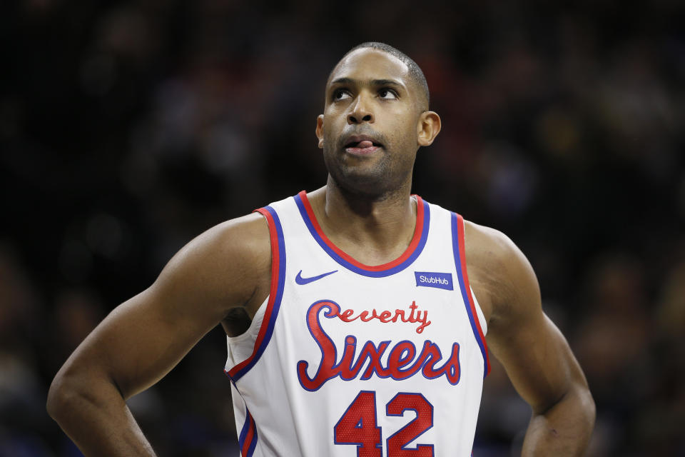 Philadelphia 76ers' Al Horford plays during an NBA basketball game against the San Antonio Spurs, Friday, Nov. 22, 2019, in Philadelphia. (AP Photo/Matt Slocum)