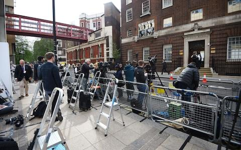 Members of the media gather outside the Lindo Wing - Credit: Kirsty O'Connor/PA