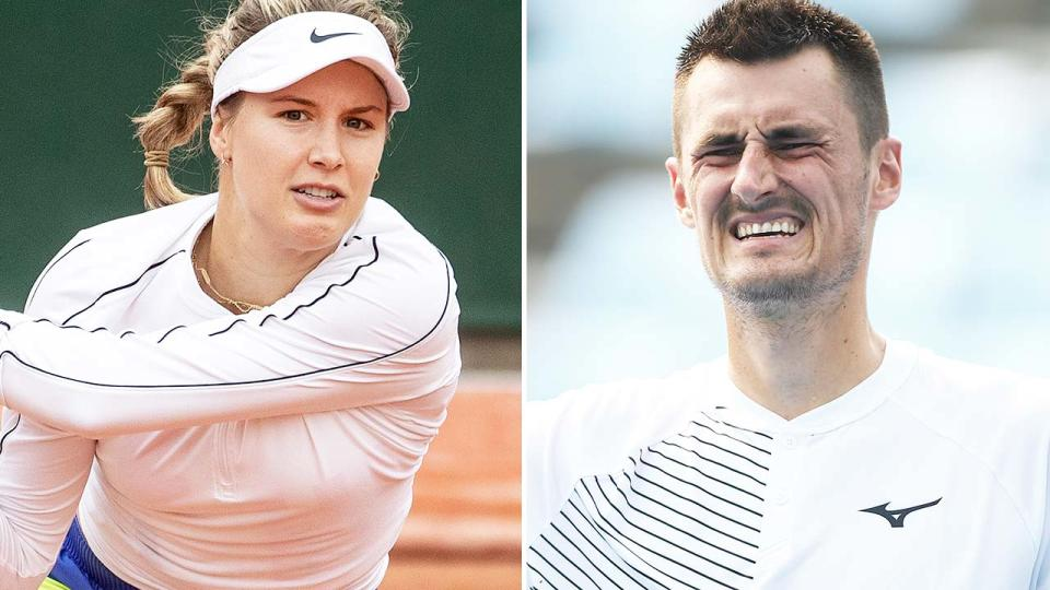 Eugenie Bouchard and Bernard Tomic, pictured here in action in 2020.