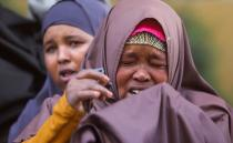 Nuurto Mcaow Noor, mother of two missing soldiers reacts during a Reuters interview in Mogadishu