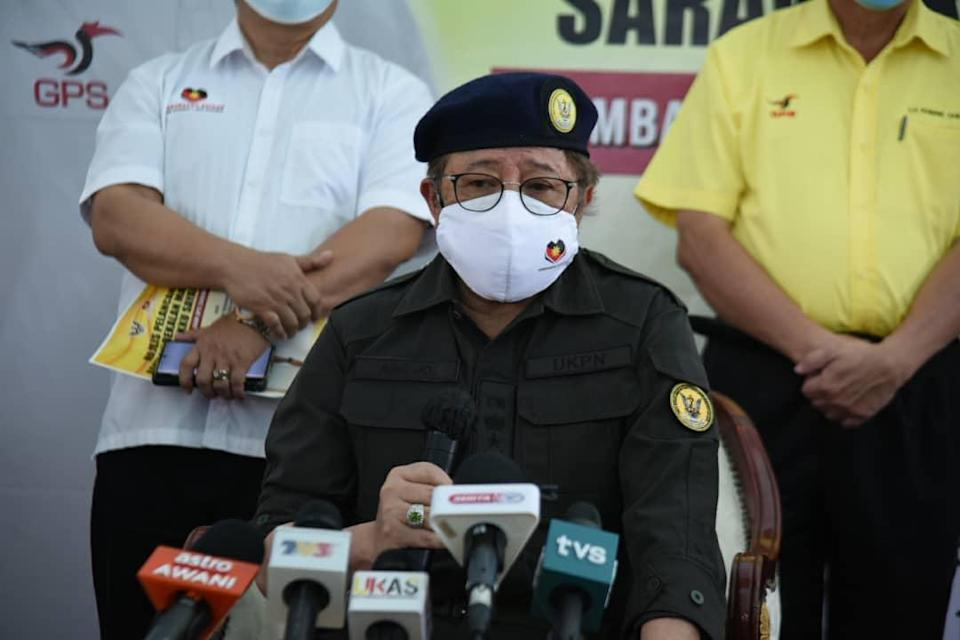 Chief Minister Datuk Patinggi Abang Johari Openg speaks to reporters after a symbolic launching of the food assistance distribution at Kampung Haji Baki June 8, 2021. — Picture courtesy of the state Information Department