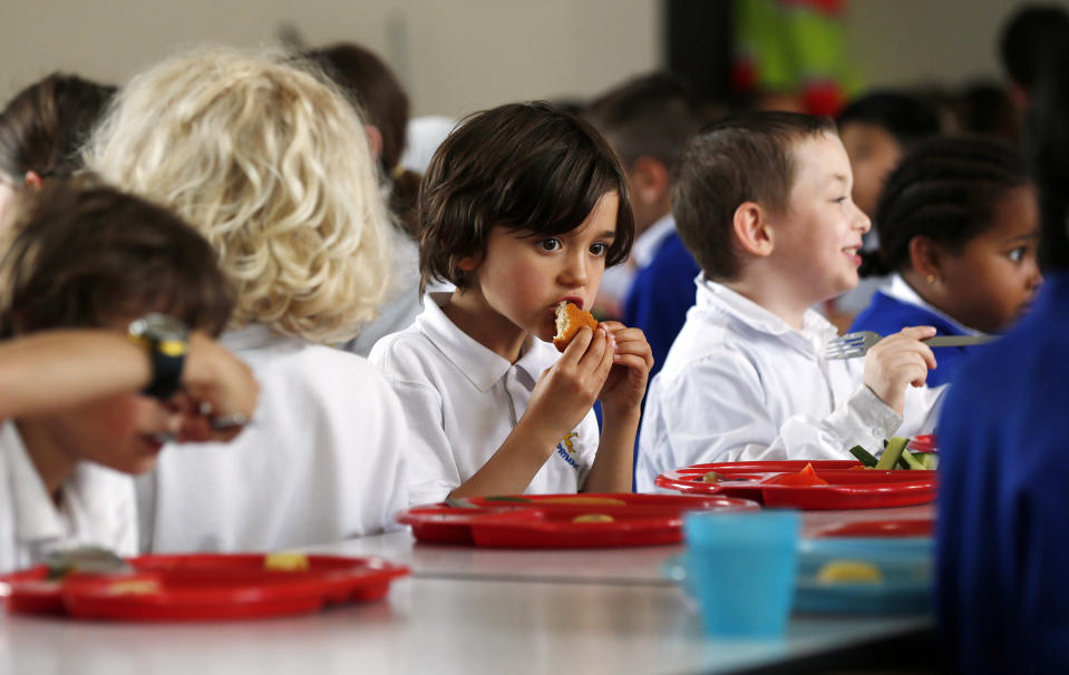 Students eat lunch at Salusbury Primary School in northwest London