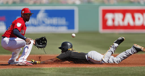 Pittsburgh Pirates' Pablo Reyes (15) steals second base as Boston Red Sox third baseman Eduardo Nunez (36) handles the late throw in the first inning of a spring training baseball game Wednesday, March 6, 2019, in Fort Myers, Fla. (AP Photo/John Bazemore)