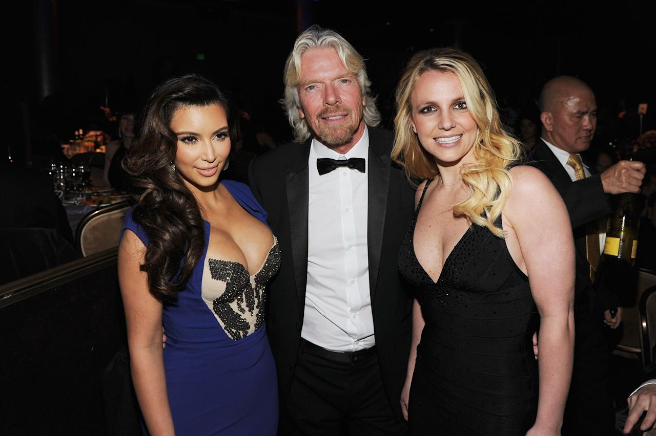 BEVERLY HILLS, CA - FEBRUARY 11:  (L-R) TV Personality Kim Kardashian, Honoree Sir Richard Branson and Singer Britney Spears attend Clive Davis and the Recording Academy's 2012 Pre-GRAMMY Gala and Salute to Industry Icons Honoring Richard Branson held at The Beverly Hilton Hotel on February 11, 2012 in Beverly Hills, California.  (Photo by Larry Busacca/Getty Images For The Recording Academy)