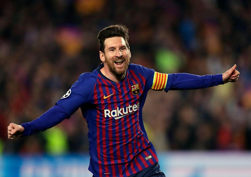 Barcelona forward Lionel Messi celebrates after scoring his side's second goal during the Champions League quarterfinal, second leg, soccer match between FC Barcelona and Manchester United at the Camp Nou stadium in Barcelona, Spain, Tuesday, April 16, 2019. (AP Photo/Manu Fernandez)