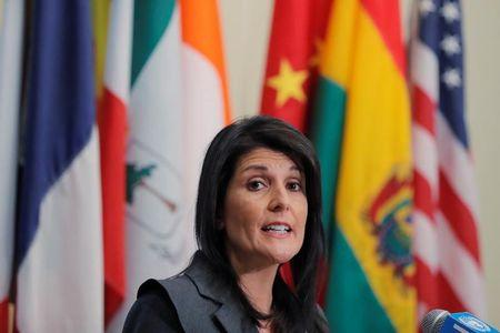 FILE PHOTO: U.S. Ambassador to the United Nations Nikki Haley speaks at U.N. headquarters in New York