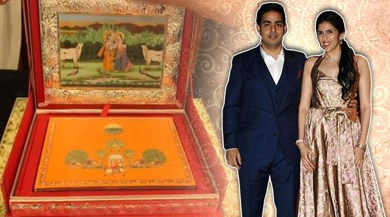 Akash and Shloka's wedding, Akash and Shloka's wedding card, Ambani wedding card, Reliance Industries, indian express, indian express news,