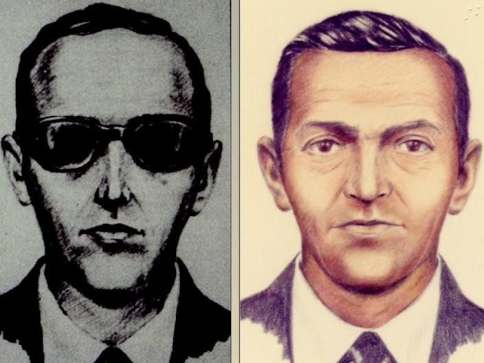 Sketches of the mysterious DB Cooper compiled from descriptions by passengers and crew from the hijacked flight (FBI)