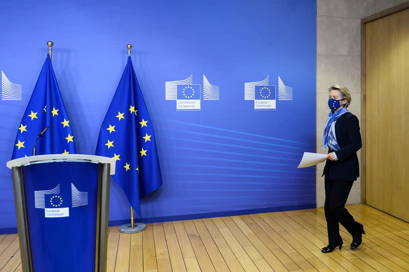 European Commission President von der Leyen arrives to give a statement, in Brussels
