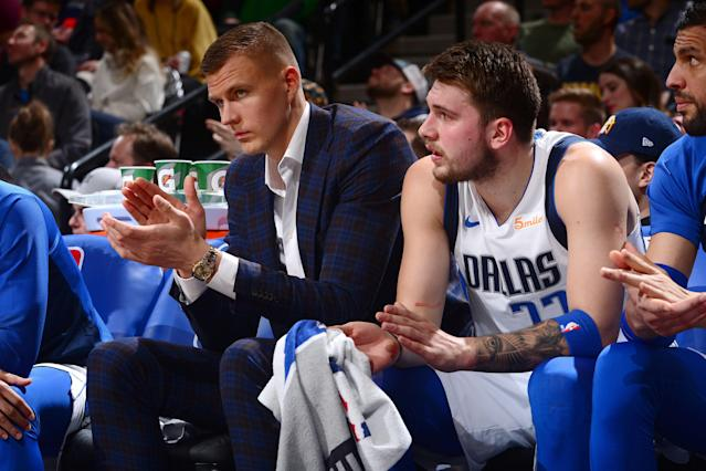 Kristaps Porzingis (L) and Luka Doncic could form a remarkable duo. (Getty Images)