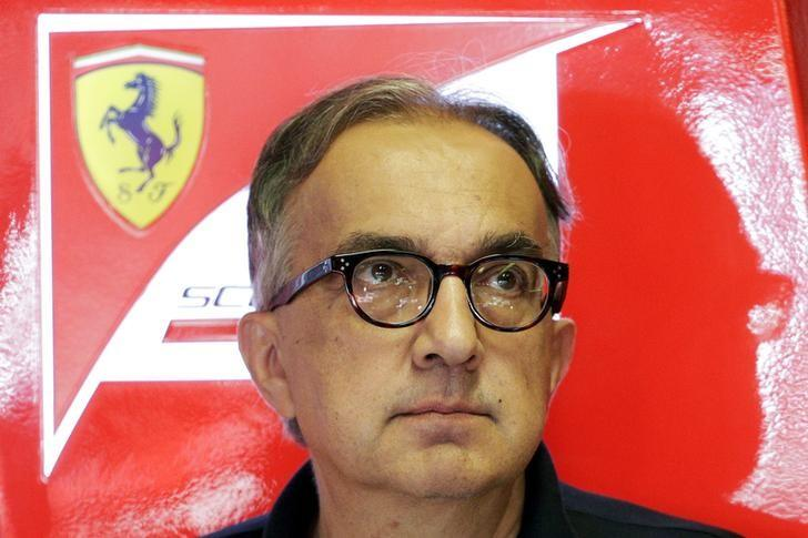 Fiat Chrysler CEO Marchionne stands in the box during the third free practice session for the Italian F1 Grand Prix in Monza