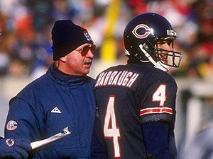 Jim Harbaugh with then-Bears coach Mike Ditka in '91