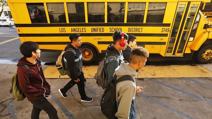 LOS ANGELES, CA - JANUARY 07, 2019 Students depart Belmont High School in Los Angeles Monday afternoon after classes on the first day of school in 2019 while last-ditch bargaining efforts continued to avert a Los Angeles teachers' strike that is set to begin on Thursday of this week. (Al Seib / Los Angeles Times)