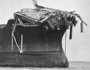 9th May 1980: Debris from the Sunshine Skyway Bridge perched on the bow of the freighter 'Summit Venture' after the vessel rammed the bridge during a thunderstorm at Tampa Bay, Florida (Photo by Keystone/Getty Images)