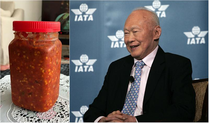 "Left: Sambal belacan (shrimp chilli paste) made by Malaysian Queen, Tunku Hajah Azizah Aminah Maimunah Iskandariah, in a photo posted on her Instagram on 2 May 2018. She said that the late Singapore statesman Lee Kuan Yew wrote to her asking for her ""delicious"" belacan in 2009. Right: Singapore's former Prime Minister Lee Kuan Yew at the 65th International Air Transport Association Annual General Meeting in Kuala Lumpur, Malaysia, June 8, 2009. (AP Photo/Lai Seng Sin)"